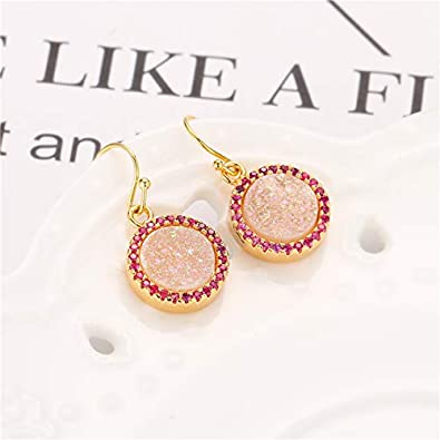 Round Shape Druzy Micro CZ Paved Hook Earrings 24k Gold Plated Drop Dangle Earrings