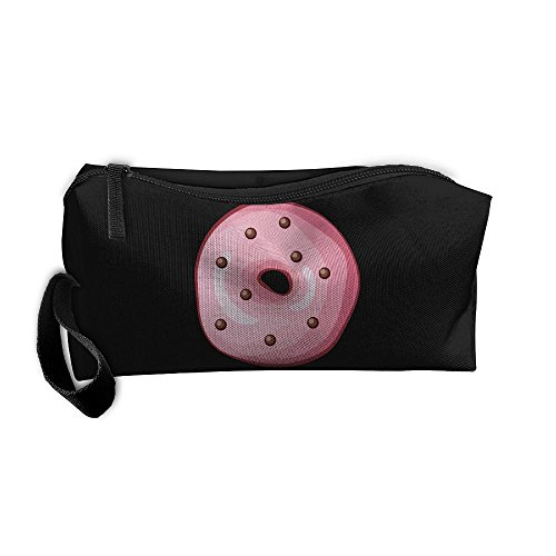 Portable Make-up Receive Bag Cute Doughnut Travel&home Storage Bag Zipper Organization Space Saver Canvas Buggy Pouch -