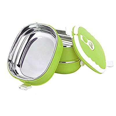 COFFLED Stainless Steel Bento Lunch Box,Premium Leak-proof Portable Food Storage Container,Perfect Super-easy-carrying Bento Box with Super High Quality for Students&Adults(Green Color)