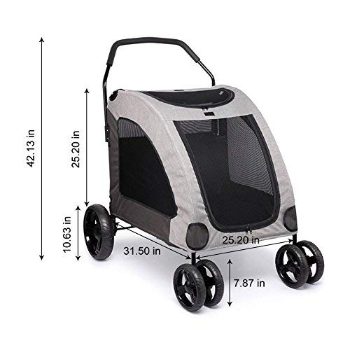 Towerin Large Pet Stroller Breathable Mesh Window Dog Cage Stroller Travel Carrier Carriage with Four Wheel Easy Walk for Jogger Jogging Travel up to 120 lbs (Grey)