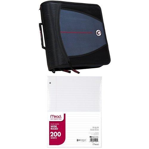 Case-it Mighty Zip Tab 3-Inch Zipper Binder, Black, D-146-BLK and Mead Filler Paper, Loose Leaf Paper, Wide Ruled, 200 Sheets/Pack (15200) Bundle