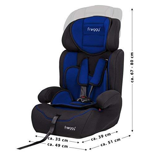 verstellbare Kopfst/ütze Blau 5-Punkte-Sicherheitsgurt 9-36 kg + Sicherheitsnorm ECE R44//04 Froggy/® Autokindersitz Gruppe I//II//III