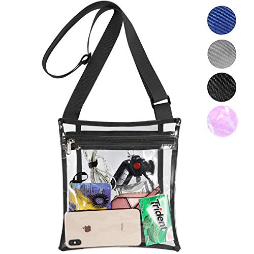 HULISEN Clear Purse Stadium Approved Crossbody Bag with Extra Inside Pocket and Adjustable Shoulder Strap for Work, School, Concert, Sports Games (Black)