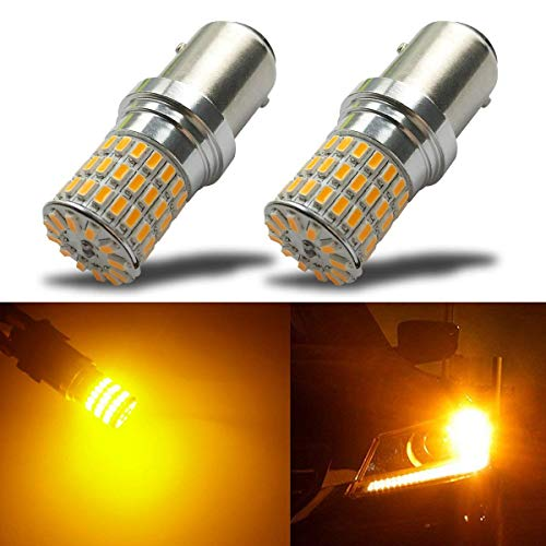 iBrightstar Newest 9-30V Extremely Bright 1157 2057 2357 7528 BAY15D LED Bulbs Replacement for Turn Signal Lights,Amber Yellow ()
