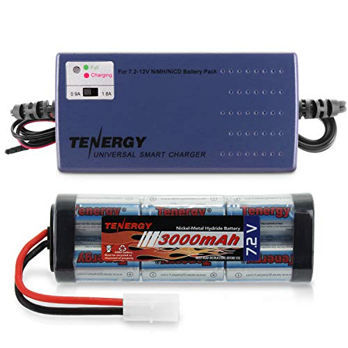 Tenergy 7.2V RC Battery Pack 3000mAh High Capacity 6-Cell NiMH Flat Battery Pack w/Standard Tamiya Connector + 7.2V-12V (6S-10S) Universal Battery Charger for NiMH/NiCd Battery for RC Cars
