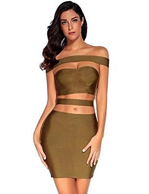 Meilun Womens Off Shoulder Off The Shoulder Bodycon Club Party Bandage Slim Dress