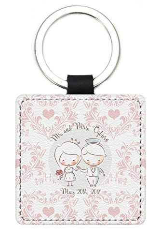 Wedding People Genuine Leather Rectangular Keychain (Personalized) by RNK Shops