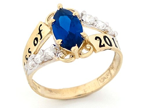 10k Gold Simulated September Birthstone 2019 Class Graduation Ring