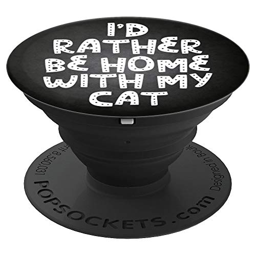 Cat Lover Quote Funny Gift Idea For Cat Holder Black & White - PopSockets Grip and Stand for Phones and Tablets for $<!--$14.95-->
