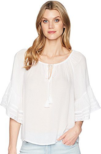 Lucky Brand Women's Bell Sleeve Peasant TOP, Lucky White, L ()