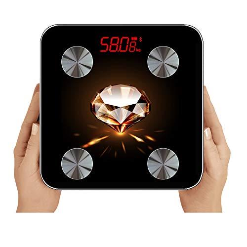 GUANG 体重計 体脂肪 体重体組成計 USB充電 体重計 スマホ連動 ブラックダイヤモンドクラシックスタイル体脂肪計 体重/体脂肪率/皮下脂肪/内臓脂肪/筋肉量/骨量/体水分率/基礎代謝量/BMIなど測定可能 Bluetooth 体組成計 iOS/Androidアプリで健康管理 ヘルスケア同期 スマートスケール