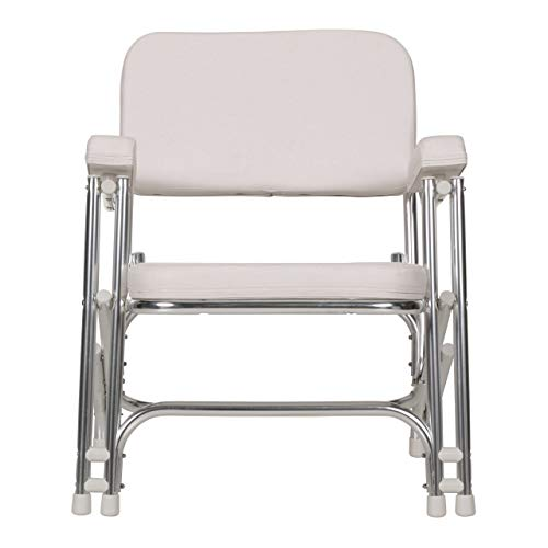 Seachoice 78501 Folding Deck Chair - White Marine Vinyl - Folds for Easy Storage (Deck Boat Chairs Lounge)