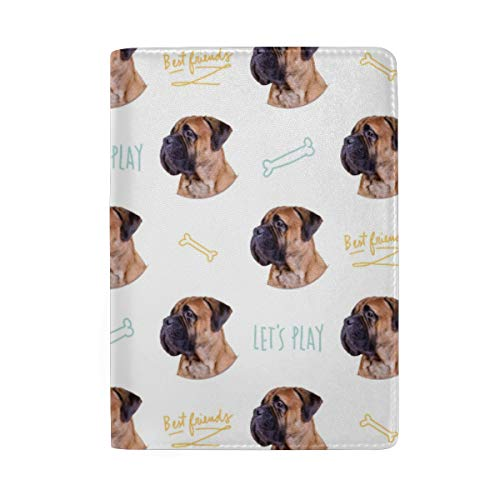 Personalized Bullmastiff Dog Leather Passport Holder Cover Travel Wallet Case (Bullmastiff Leather)