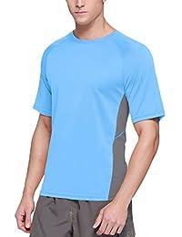 Baleaf Men's Short Sleeve Surf Shirt Rashguard Shirts UPF 50+