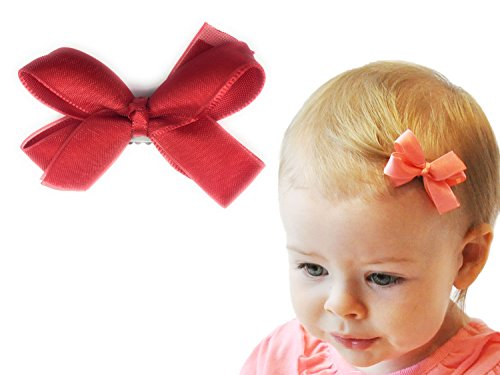 - Baby Wisp Boutique Satin Organza Ribbon Hair Bow Wisp Clip for Baby Girls Toddlers Infant (Red)