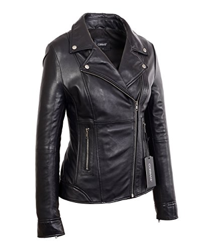 Lambskin Leather Fashion Jacket (Womens Black Mid Length Asymmetrical Lambskin Real Leather Jacket (Small, Black))