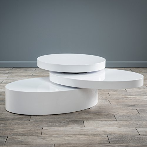 Christopher Knight Home 295367 Kendall Oval Mod Swivel Coffee Table, White, Hi-Gloss