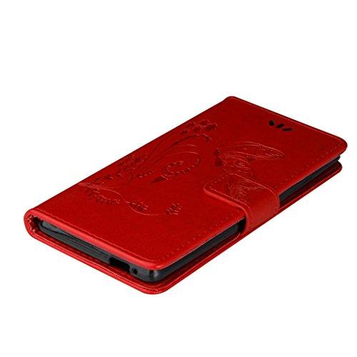 Erdong® Magnético Folio Flip Caso Con pata de cabra titular de la tarjeta Para Wiko Pulp 4G 5.0, Elegant Simple Book-style [Rojo flor de mariposa] patrón de impresión cuero del soporte Folio Pouch Pr