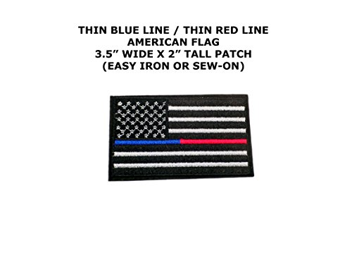 [Thin Blue Line/Thin Red Line US Flag Embroidered Iron/Sew-on Comics Tactical Theme Logo] (Easy Male Villain Costumes)