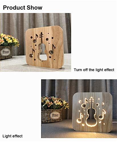 Lovely Nursery USB Powered Violin Wooden 3D Night Light Carving Pattern Table Desk LED Lamp Beside Nightlight Home Decoration Art Sculpture Lights for Children by YiLight (Image #3)