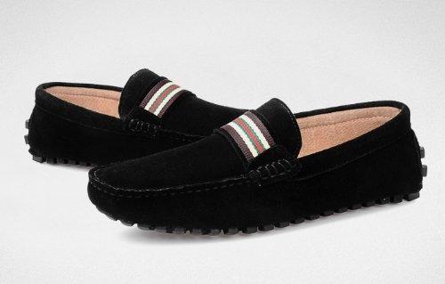 Happyshop (tm) Mode Daim Cuir Confort Slip 0n Gland Mocassins Conduite Chaussures Eur Size39-44 Noir