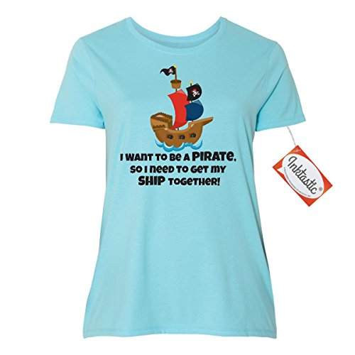 Inktastic I Want to be a Pirate Women's Plus Size T-Shirt 5 (30/32) Blue Horizon (Womens Plus Size Authentic Caribbean Pirate)