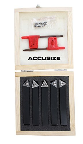 AccusizeTools - 5 Pcs/Set 1/2'' Indexable Carbide Insert Turning Tool Bits, 2380-5082 by Accusize Industrial Tools