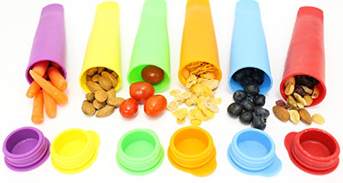 Silicone Snack Bag Multi Use Snack Box Containers Ice Pop Maker Molds All in One Set of 6 - Popsicle Molds - Snack Bags for Bento Box Lunch Boxes - Kids Lunch Containers Totes - Safe Food Grade Travel Snack Storage - Brand: Ideas In Life