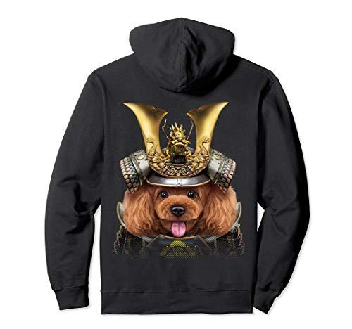 (Toy Poodle Dog Warrior wearing Japanese Samurai Armor Pullover Hoodie)