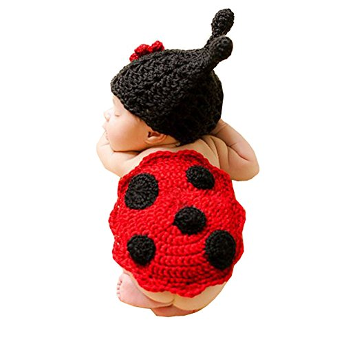 Wowstar Baby Photo Prop Outfit Clothes Knit Crochet Photopraphy Dress Handmade Clothing(Ludybug)]()