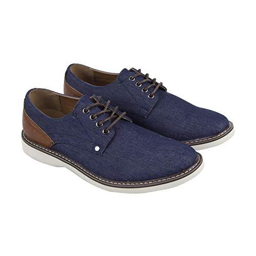 Steve Madden M-Ensure Mens Blue Textile Casual Dress Lace Up Oxfords Shoes