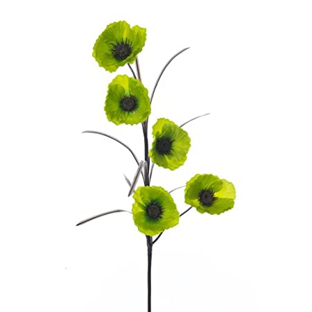 Lime green artificial silk flowers 5 poseable poppy flower heads lime green artificial silk flowers 5 poseable poppy flower heads on one stem mightylinksfo