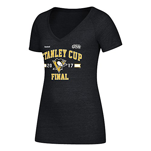 Reebok NHL Pittsburgh Penguins Adult Women NHL Finals Stanley Cup Simple Arch Triblend V-Neck Tee, Medium, Black Heather ()