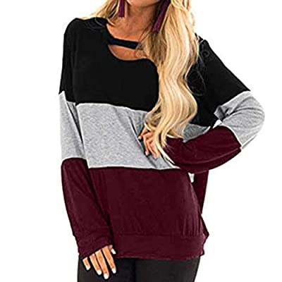 AOJIAN Blouse Women Long Sleeve T Shirt Hollow Out Color Block Tunic Tank Shirts Tops