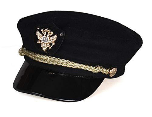 (Vintage Newsboy Cap Men Cadet Women Embroidery Military Wool Baker boy Classic Gatsby Flat Hats,Black,one Size)