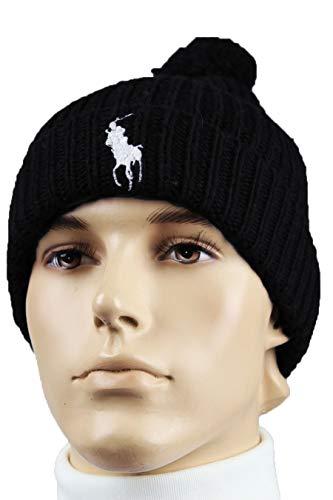 n's Windsor Polo Big Pony Ribbed Cuffed Pom Pom Beanie (Black(PP0078-001)/White, One Size) ()