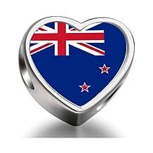 New Zealand flag Heart Photo charm beads fit pandora bracelets