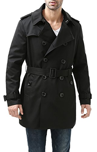 BGSD Waterproof Double Breasted Mid Length Trench Coat for Men with Removable Liner,Black,Medium