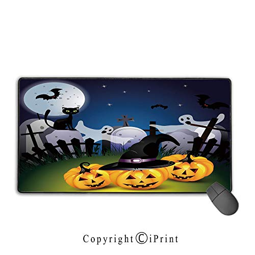 Game speed version medium cloth mouse pad,Halloween,Funny Cartoon Design with Pumpkins Witches Hat Ghosts Graveyard Full Moon Cat Decorative,Multicolor, Non-slip rubber base Mouse pad with -