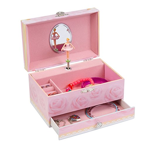 JewelKeeper Girl's Musical Jewelry Storage Box with Pullout Drawer, Pink Rose Design with Ballerina, La Vie En Rose Tune