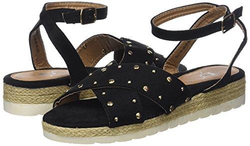 Divine Ankle The Sandals Strap Women''s noir Factory Black Ada 001 Fxqpvdq