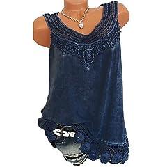 a1334d424f41f4 Nomeni Women O-Neck Sleeveless Pure Color Lace Plus Size Vest .