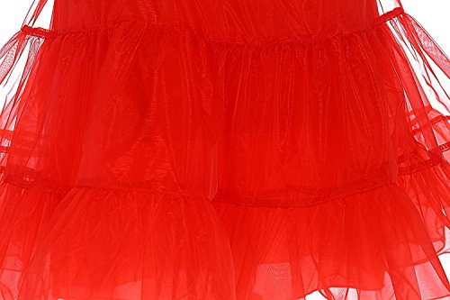 Babyonlinedress - Falda - trapecio - para mujer Rosso