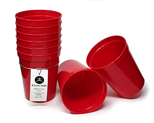 Rolling Sands 16oz Reusable Plastic Stadium Cups Red (8 Pack, Made in USA, BPA-Free) Dishwasher Safe Plastic Tumblers -