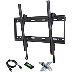 """Tilt TV Wall Mount for 37""""-84"""" Flat Screen TVs with 6' High-Speed HDMI Cable, Cable Ties and Leveler"""