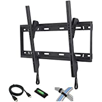 Tilt TV Wall Mount for 37-84 Flat Screen TVs with 6 High-Speed HDMI Cable, Cable Ties and Leveler