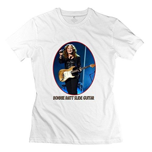 - JRZJ Women's Bonnie Raitt Slide Guitar T-shirt XL White