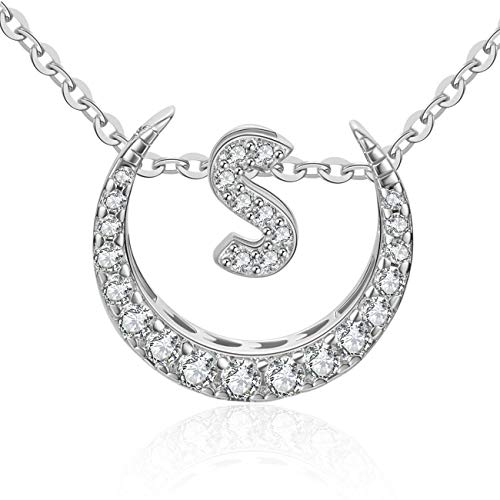- OAKING Necklace for Women, S925 Sterling Silver Cubic Zirconia 26 Initial Letters Sterling Silver Pendant Necklace Gift Set (S)