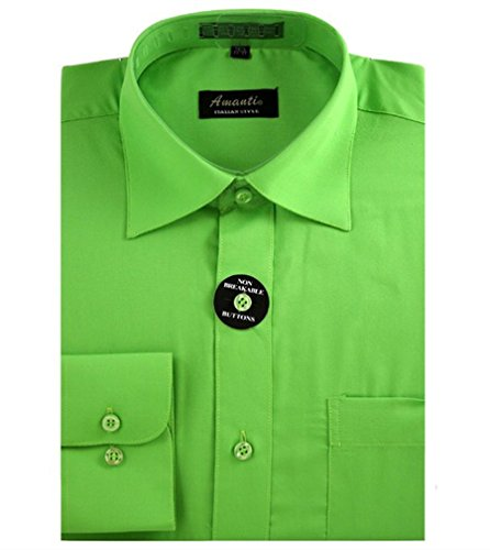 Amanti Men's Classic Dress Shirt Convertible Cuff Solid (Neck Size:15 1/2; Sleeve Length :32/33;, Apple Green) Classic Apple Green