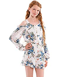 a683e291315 Big Girls  Long Sleeve Button Down Romper in Floral Print with Cold Shoulder  and Ruffles